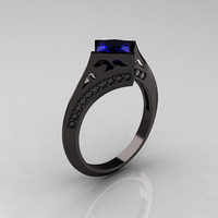 Exclusive French 18K Black Gold 1.23 CT Princess Blue Sapphire Diamond Engagement Ring R176-18BGDBD