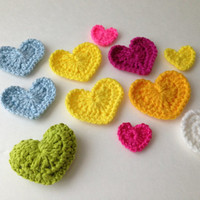 Crochet Embellishment Appliques - Colorful Crochet Hearts - Light Green Puffy Heart - Circle - Button - Handmade Crochet - Ready to Ship