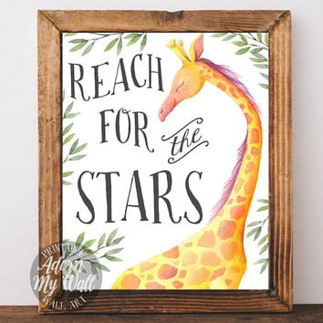 Reach for the stars, nursery wall art, nursery decor, baby shower gift, new baby gift, giraffe, print, wall art, printable, instant download