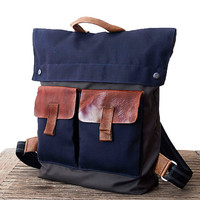 BACKPACK, Canvas and upcycled leather bag, GRAY & BLUE Backpack, Canvas and upcycled Leather backpack, Back to School