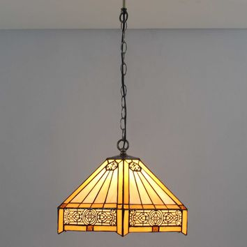 Tiffany Style Warm Light Glass & Steel Hanging Pendant Ceiling Lamp Fixture 16694