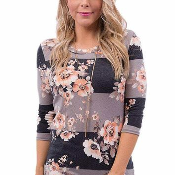 Charcoal Taupe Bold Stripe Light Floral Shirt