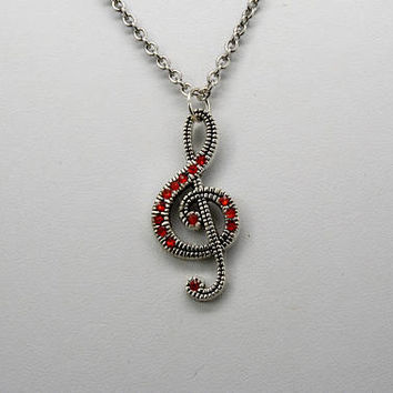 Treble Clef Necklace, Music Lover's Necklace, Treble Clef Pendant, Music Lover's Pendant, Music Teacher Gift, Rhinestone Treble Clef