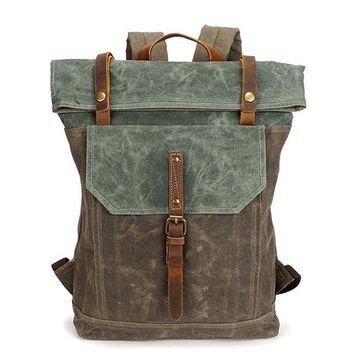 Waxed Canvas With Leather Unisex Hiking School Backpack