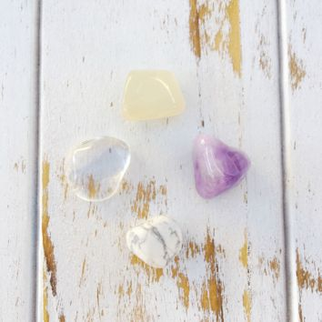 Crown Chakra * 4 Piece Stone Set * Rose Quartz, Hematite, Crystal Quartz & Moss Agate * Reiki Charged