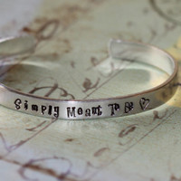 Nightmare Before Christmas Inspired Jack & Sally Aluminium Cuff Bracelet - Simply Meant To Be.....