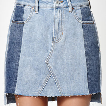 PacSun Contrast Paneled Denim Skirt at PacSun.com