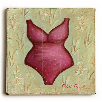 Red Bathing Suit by Artist Colette Cosentino Wood Sign