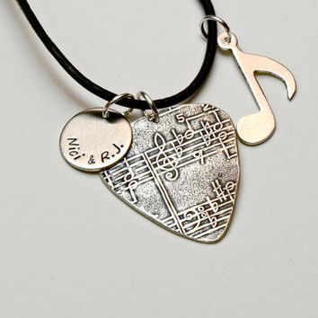 Sterling Silver Guitar Pick Necklace with Music Note, Personalized Disc Charm, and Musical Impression – Solid 925 GP2407