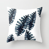 Tropical leafs Throw Pillow by Craftberrybush