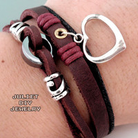 Silver Heart Charm Leather Bracelet.. on Luulla