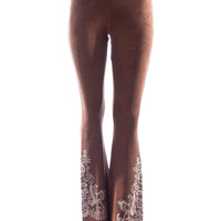Judith March Suede Pants with Embroidered Detail at Hem (Brown)