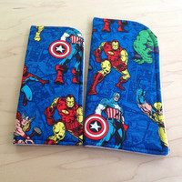 Superheroes Blue Sunglass Case or Eyeglass Case Slide in Pouch Choose Your Size