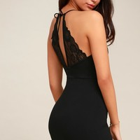 Forward Thinking Black Lace Halter Bodycon Dress