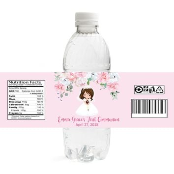 Girl Communion Water Bottle Labels