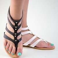 Women's Gladiator Sandals Studded Strappy Sandal Shoes Black White Coral Silver
