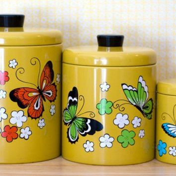Ransburg Retro Metal Canister Set by DwellLovely on Etsy