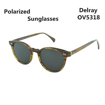 2017 Delray Vintage Sunglasses Men Women  Oliver peoples Polarized Sunglasses Male Female OV5318 Oval Round Sun glasses Eyewear