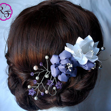 Bridal hair accessory , lilac flowers , Kanzashi flowers , wedding hair accessory , Alligator clip