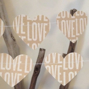 Large Natural LOVE Shabby Chic Heart Garland - home decor, country chic, wedding, party decoration, baby shower decoration, photo prop