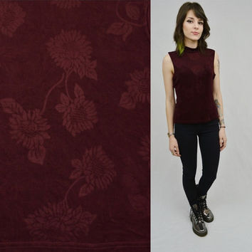 Turtleneck Tank Floral Maroon MED Soft Grunge Hipster Merlot Shirt Women Vintage Clothing 90s Shiny Stretchy Sleeveless Mock Turtleneck