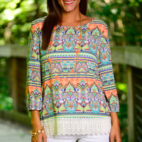 Free Falling Blouse, Peach/Lime