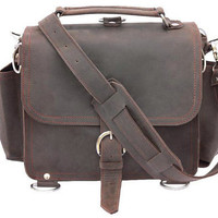 Leather Satchel Messenger Bag, Purse MEDIUM - Rich Chocolate Brown, Rustic Leather Distressed, Rugged