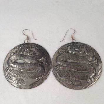 Vintage Antique Silver Dragon/Serpent Earrings 2.75 Inches Long 2 inches Wide