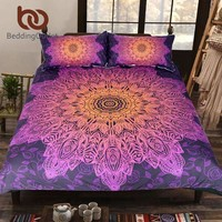 Beddingoutlet Bohemian Flower Bedding Set Gradient Purple Mandala Quilt Cover Set King Size Home