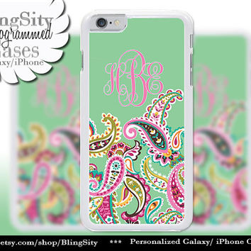 Monogram Green Paisleys iPhone 5C 6 Case 6 Plus iPhone 5s 4 case Ipod 4 5 Touch Cover Mint Frutti Pastels Personalized