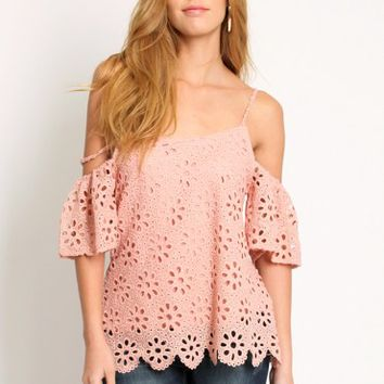 French Club Floral Eyelet Blouse