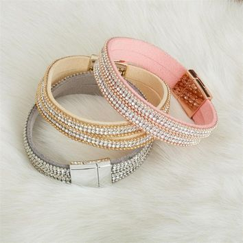 Glitz Get Together Double Row Embellished Magnetic Bracelet