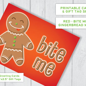 Gingerbread Man Bite Me Printable Christmas Card & Gift Tag Set - in Red | Funny Holiday Card