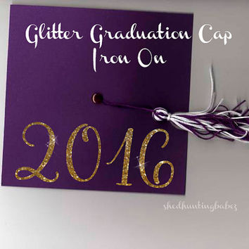 2016 Graduation Cap Glitter Iron On Decal