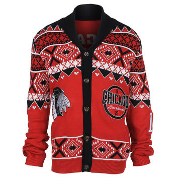 Chicago Blackhawks KLEW Ugly Cardigan Sweater Sizes M-XXL w/ Priority Shipping