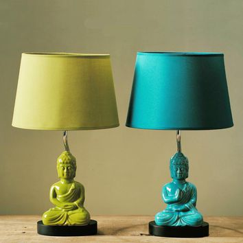 Exotic Southeast Asia Ceramic Buddha With Fabric Shades Table Lamp