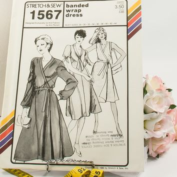 Banded Wrap Dress  - Pattern 1567  - Vintage Sewing Pattern  - Vintage Stretch & Sew Pattern  - 1980 Pattern  - Ann Person