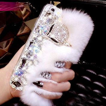 Day-First™ Bling Crystal Rhinestone Furry Fluffy Case for iPhone
