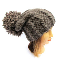 Slouchy beanie hat taupe chunky knit hat wool dark beige knitted hat with large pom pom - knit slouch hat designer hat for women Irish gift