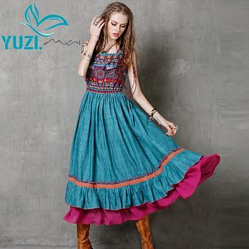 Summer Women Maxi Dress 2016 Yuzi.may Boho New Cotton Linen Dresses Floral Print Sundress  Embroider Vestido A8127 Vestidos