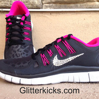 Women's Nike Free Run 5.0+ Leopard Shield Running Jogging Training Shoes Customized With Swarovski Elements Crystal Rhinestones Pink Black