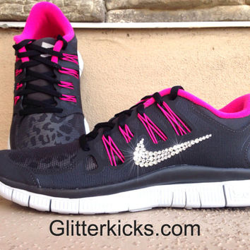 Women s Nike Free Run 5.0+ Leopard Shield Running Jogging Training Shoes  Customized Wi a09e913f1d
