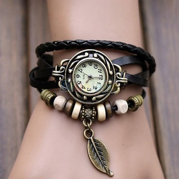Womens Retro Leather Bracelet Tree leaf Decoration Quartz Wrist Watch , vintage, charms bracelet watch, tribal style, cool = 1652443012