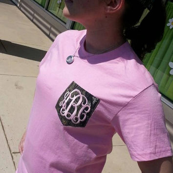 Monogram Tee with Camo Pocket Font Shown  INTERLOCKING   Your choice of Mossy Oak or Real tree