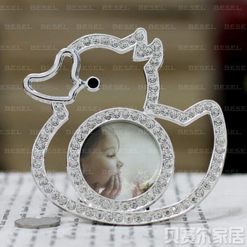 2 inch metal photo frame little duck diamond decoration child baby photo frame avatar mini swing sets x67