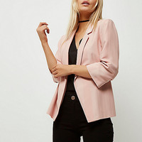 Petite pink ruched sleeve stripe blazer - blazers - coats / jackets - women