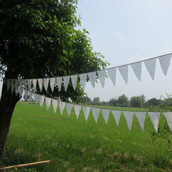 white wedding bunting Pennant Garland Banner natural burlap  cotton prayer flags festive decoration!