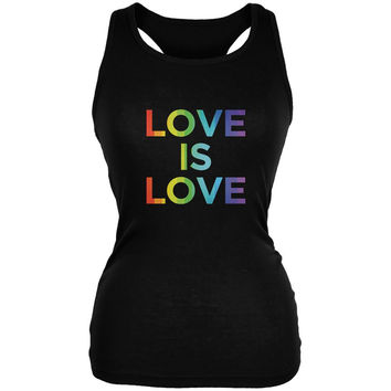 LGBT Gay Pride Love is Love Black Juniors Soft Tank Top