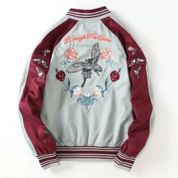 Back Floral Embroidery Long Sleeve Zipper Splicing A Satin Baseball Jacket