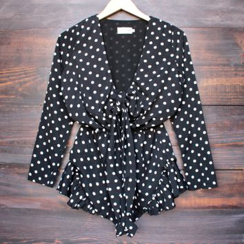 Lioness black with envy ruffle hem polka dot romper in black